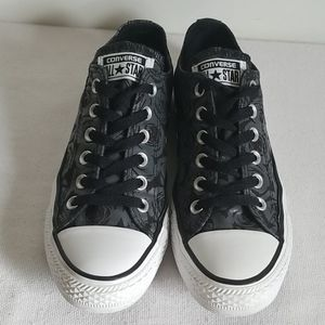 Converse Black Gray Rose Print Low Top Sneaker